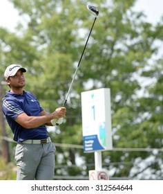 EDISON,NJ-AUGUST 30:Jason Day watches his shot from the 1st Tee during the final round of the Barclays Tournament held at the Plainfield Country Club in Edison,NJ,August 30,2015.