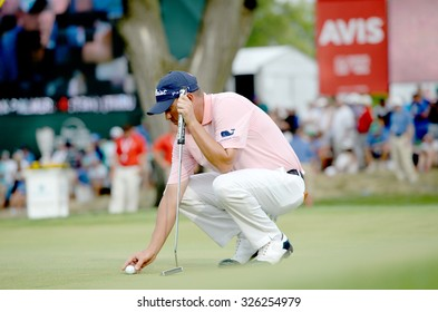 EDISON,NJ-AUGUST 30:Jason Dufner sets up his ball at the 18th hole during the final round of the Barclays tournament held at the Plainfield Country Club in Edison,NJ,August 30,2015.