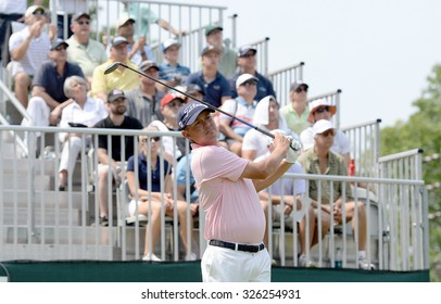 EDISON,NJ-AUGUST 30:Jason Dufner watches his shot from the 1st Tee during the final round of the Barclays tournament held at the Plainfield Country Club in Edison,NJ,August 30,2015.