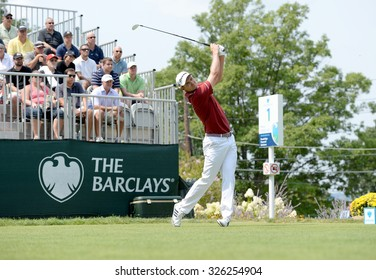 EDISON,NJ-AUGUST 30:Justin Rose watches his shot from the 1st Tee during the final round of the Barclays Tournament held at the Plainfield Country Club in Edison,NJ,August 30,2015.