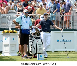 EDISON,NJ-AUGUST 30:Russell Knox (r) takes a look down the 1st Tee Fairway during the final round of the Barclays Tournament held at the Plainfield Country Club in Edison,NJ,August 30,2015.