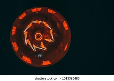 Edison's light bulb in the dark. Bottom view