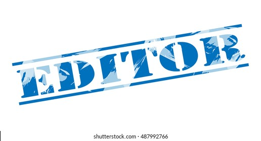 editor blue stamp on white background