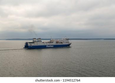 Editorial 08.09.2018 Turku Finland, MS Finnfellow of Finnlines in the Turku Archipelago heading to Naantali
