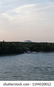 Editorial 08.09.2018 Turku Finland two big gantry cranes of the Meyer Turku shipyard
