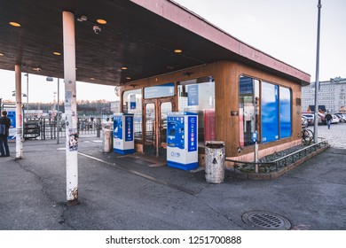 Editorial 11.17.2018 Helsinki Finland, Suomenlinna fortress terminal building for waiting and buying tickets