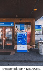Editorial 11.17.2018 Helsinki Finland, Ticket machines for buying tickets to Suomenlinna ferry