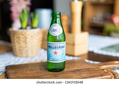 editorial - 250ml Glass San Pellegrino natural sparkling water bottle on a table with natural light. mineral water. Istanbul / Turkey 16/03/2019