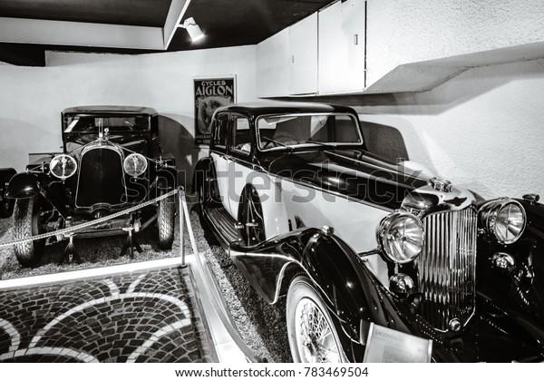 Editorial: 29th October 2017: Martigny, Switzerland. Beautiful retro cars exposition.