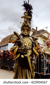 Editorial, 6 March 2016: Rosheim, France: Venetian Carnival Mask - A most beautiful mask photographed in open street