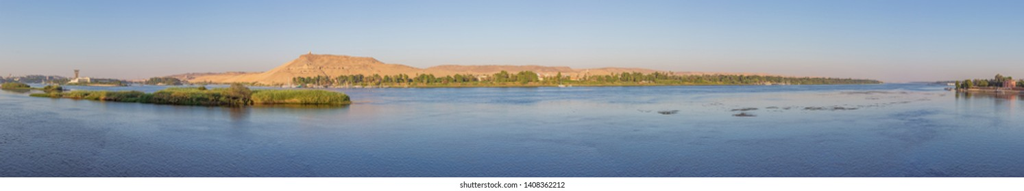 Editorial: ASWAN, EGYPT, October 14, 2018 - Panorama of the Nile in Aswan seen from the right bank of the Nile