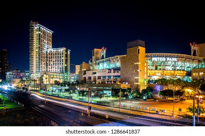 Editorial August 12, 2016 - San Diego California, Petco Park is the baseball stadium for the Padres, night city photo