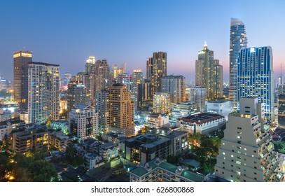 Editorial: Bangkok City, Thailand, 21th April 2017. Bangkok City has city of business and communication in the night at Siam Bangkok Thailand.