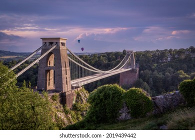 Editorial Bristol, UK - August 1st, 2021: Hot air balloons over the Clifton Suspension Bridge and the Avon Gorge in Bristol, UK