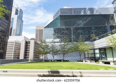 Editorial building and landmarks photography, downtown Seattle skyline and green space park on sunny spring day circa April 2017