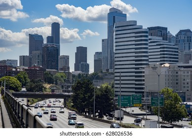 Editorial buildings and landmarks Landscape daytime view of downtown Seattle interstate highway traffic flowing through the city center circa 2017