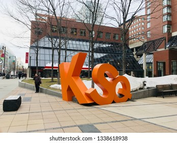 Editorial: Cambridge, Boston, Massachusetts: March 2019: Kendall Square Sign, famous place near to MIT