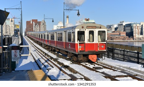 Editorial: Cambridge, Boston, Massachusetts, United States: March 2019: MBTA Rapid Redline train at Charles/MGH train station