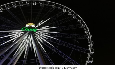 "Editorial - ""Chang Beer giant ferris wheel"" famous iconic landmark tourist attraction at Asiatique The Riverfront night market on May 23, 2019, in Bangkok, Thailand."