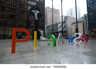 Editorial, Chicago IL, April 11, 2013 Foggy and rainy day in downtown of Chicago, Daley plaza, Picasso sculpture