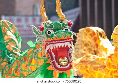 Editorial, Chicago IL, February 22, 2015 Dancing dragon at chinese new year parade