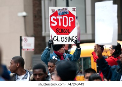 Editorial, Chicago IL, March 26, 2013 Demonstration in Chicago to protest school closings.Protect our children!