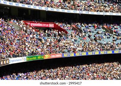 Editorial, crowd at Australian rules football stadium