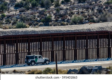 Editorial - December 3, 2015: US - Mexican border fence near Jacumba/Boulevard in Southern California.