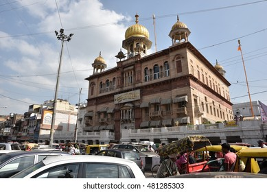 Editorial: Delhi, India: SEPT 10th, 2016: Gurudwara Sis Ganj Sahib in Old Delhi, India, Asia. Gurdwara Sis Ganj Sahib, is one of the nine historical gurdwaras in Delhi. First established in 1783