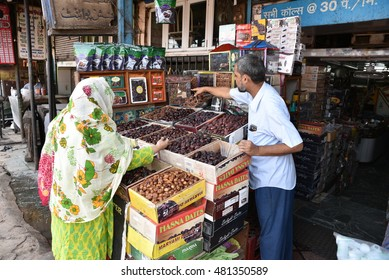 Editorial: Delhi, India: SEPT 10th, 2016: Dry Fruit on display in a local market in Delhi, India with visible prices in Indian rupee