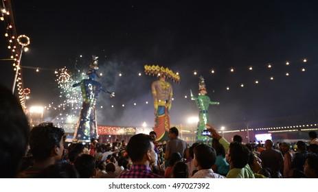 Editorial: Delhi,India: OCT 11th, 2016: Huge Effigies of King Ravana, his son Megnath and brother Kumbhkarana (Villains of Hindu mythological Epic Ramayana) at Grounds near Red Fort