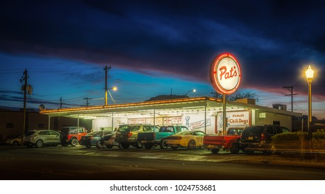 Editorial February 2, 2018: Pat's fast food restaurant in Tucson Arizona night photo