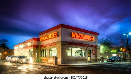 Editorial February 2, 2018: Whataburger fast food restaurant burger fries place Tucson Arizona at night