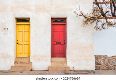 Editorial February 8, 2018: Old colorful historic adobe homes in Tucson Arizona