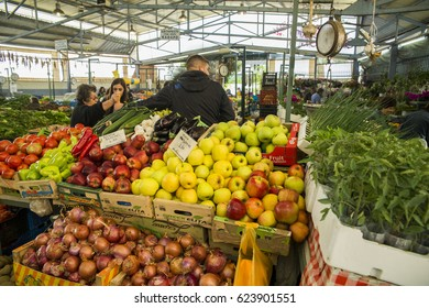 EDITORIAL: FRUIT MARKET , 12 APRIL 2017 , ARTA CITY , GREECE fruit market in arta city greece