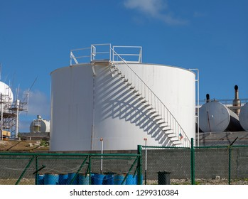 Editorial Grand Turk, Caribbean - January 18, 2019: Industrial oil storage tank on the Turks and Caicos Islands in the Caribbean