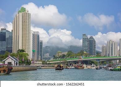 Editorial: HONG KONG, CHINA, April 22, 2019 - View of Aberdeen and its harbor in Hong Kong