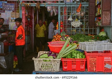 Editorial Image of the Vegatable retail or vendor in Pudu Wet Market, Kuala Lumpur, Malaysia. Taken in 7th July 2016.