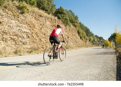 EDITORIAL: IOANNINNA,GREECE, 5 NOVEMBER 2017 , LIGIADES BIKE RACE, ioannina city bike race in the morning uphill road