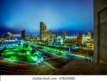 Editorial July 6, 2017: Downtown San Diego at night with Petco Park, which is the stadium of the Padres baseball team