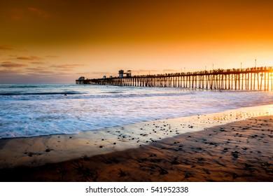 Editorial - July 7, 2016 - Oceanside Pier in Oceanside, CA, at sunset; travel destination, California