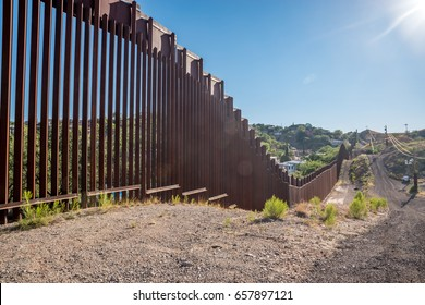 Editorial June 10, 2017 - Photo of the border fence between United States and Mexico in Nogales, Arizona
