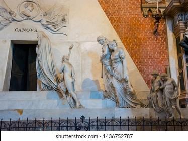 Editorial. June, 2019. Venice, Italy. Fragment of the monument dedicated to Canova in the interior of the Basilica di Santa Maria Gloriosa dei Frari.