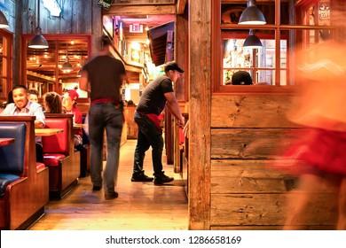 Editorial June 28, 2016 - Bubba Gump Shrimp Company restaurant interior in Long Beach, California USA
