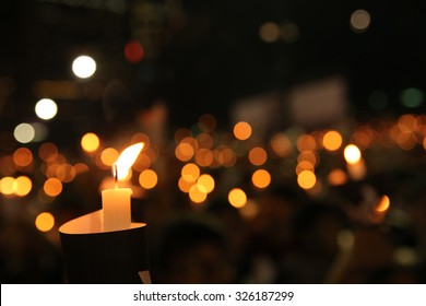 EDITORIAL: June Fourth Commemoration in Victoria Park, candle lights across the park. Shot in Victoria Park, 4/6/2014