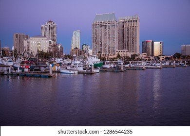 Editorial March 17, 2016 - San Diego California Skyline and marina with boats and Manchester Grand Hyatt Hotel as well as Marriott Hotel