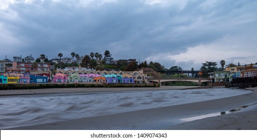 Editorial March 24, 2019 - The Capitola Venetian Hotel with its very colorful beach rental cottages, located in Santa Cruz County, California.