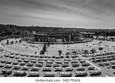 Editorial March 25, 2019 - Aerial drone shot of lots of campers at the SDCCU Stadium in Mission Valley, San Diego, California, formerly called Qualcomm Stadium and Jack Murphy Stadium.