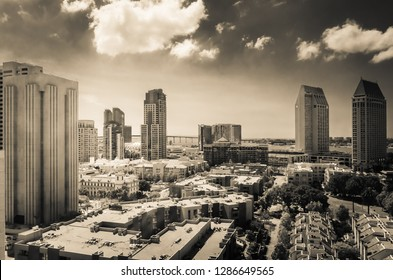 Editorial May 15, 2015 - Downtown San Diego with high-rises and Metropolitan Correction Center (MCC) in the foreground, Coronado bridge in the background