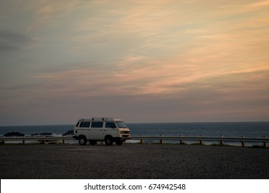 Editorial May 17, 2017: Lifestyle photo of a white van parked at a scenic spot on the Oregon Coast